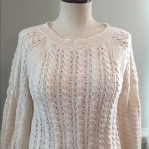 NWT LOFT Cream Sweater with Bell Sleeves